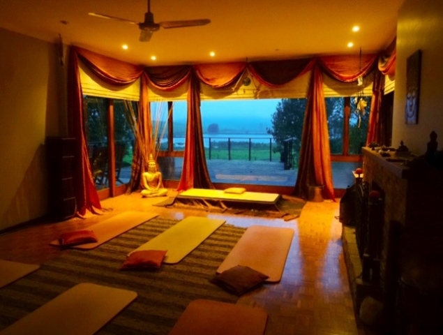 yoga room in the evening