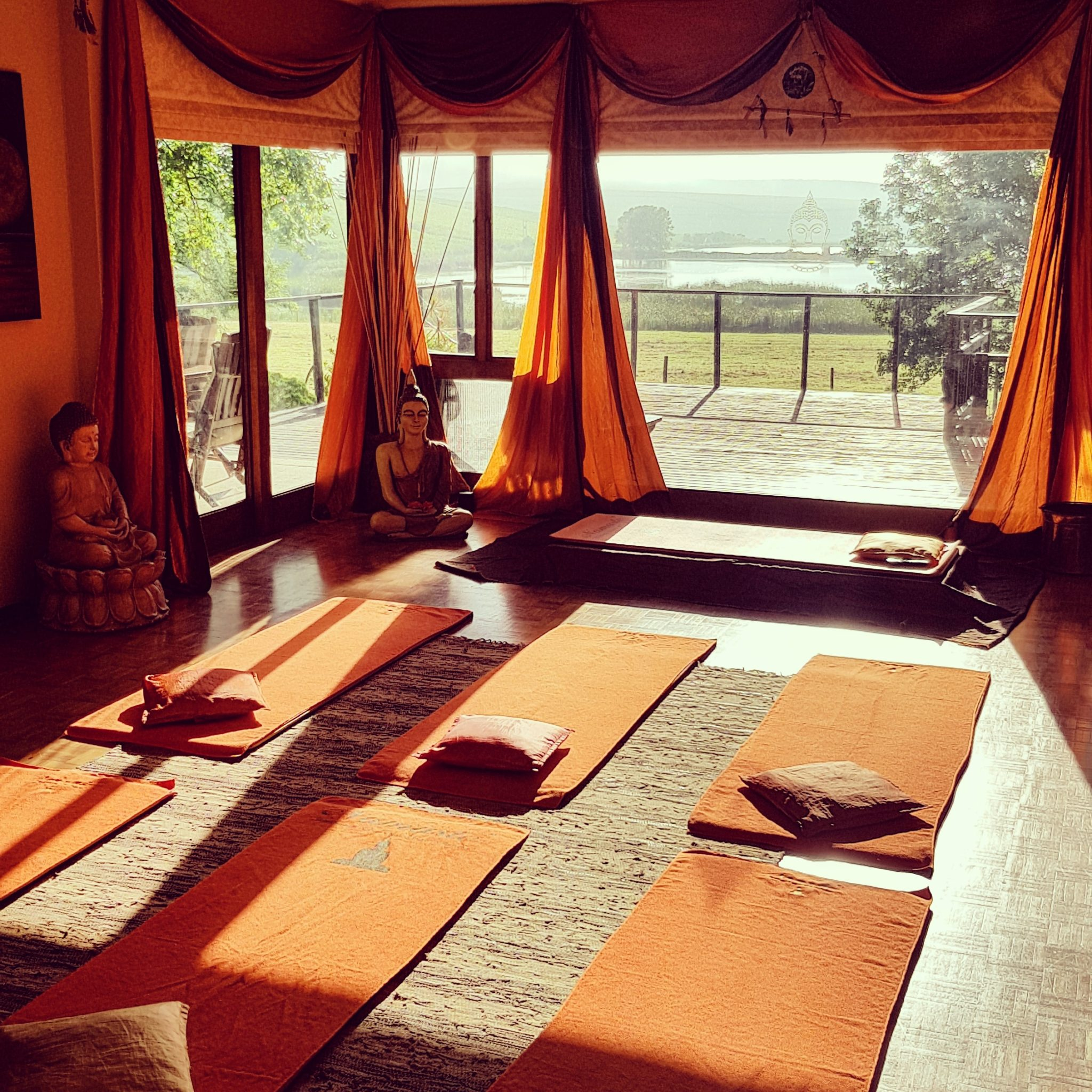 Yoga Studio with orange mats